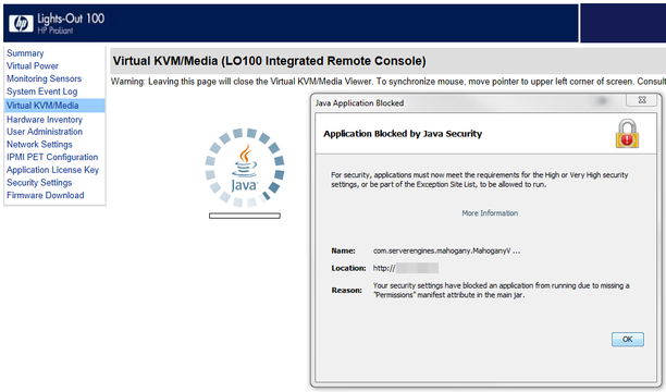HP Lights Out - Java Application Blocked