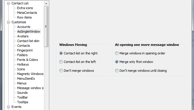 AsSingleWindow Options Window
